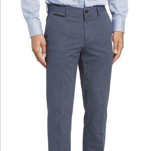 Boss Batho Flat Front Solid Cotton Blue Pants
